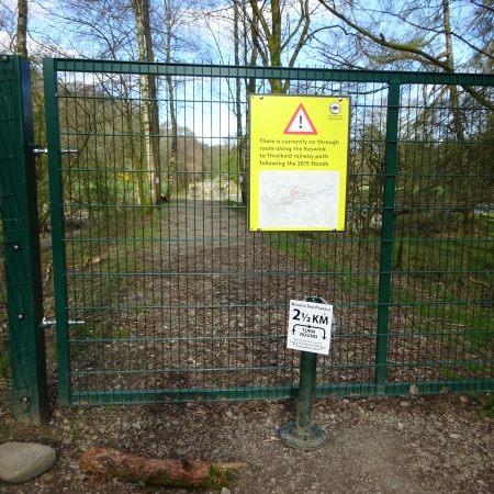 Blocked path on the Keswick to Threlkeld C2C route